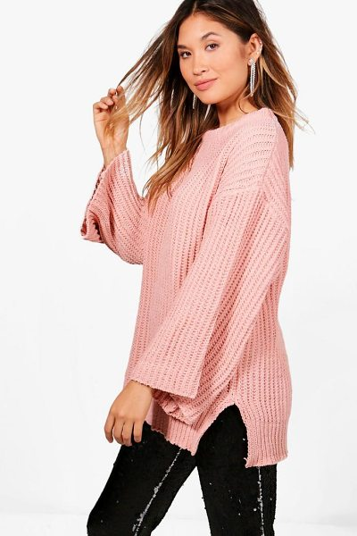 Boohoo Rebecca Wide Sleeve Chenille Jumper in rose - Nail new season knitwear in the jumpers and cardigans...