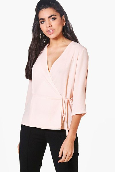 Boohoo Rebecca Wrap Over Tie Top in nude - Rebecca Wrap Over Tie Top nude