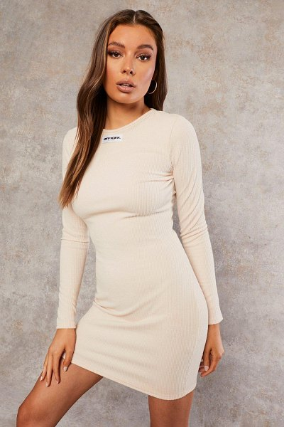 Boohoo Recycled Long Sleeve Bodycon Dress in ecru