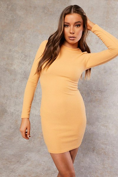 Boohoo Recycled Long Sleeve Bodycon Dress in apricot