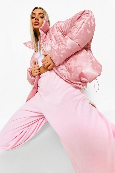 Boohoo Reflective Camo Funnel Neck Puffer Jacket in pink