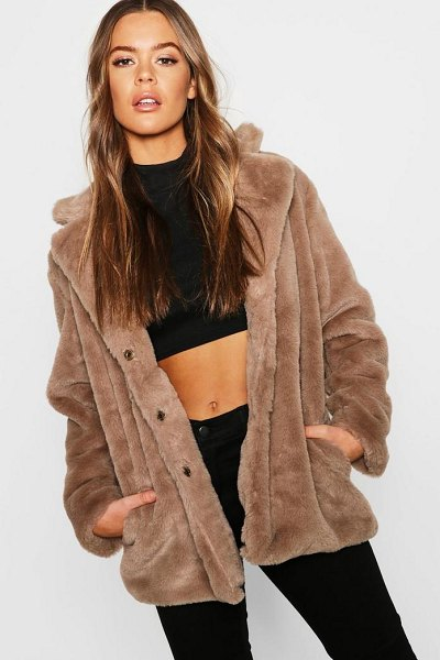 Boohoo Revere Collar Faux Fur Coat in natural - Wrap up in the latest coats and jackets and get...
