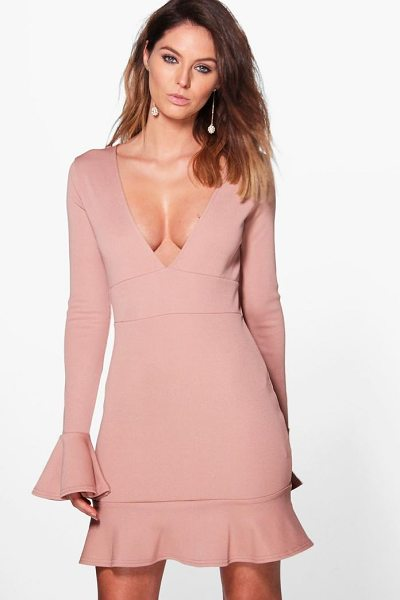 Boohoo Rhian Flute Sleeve Bandage Bodycon Dress in rose - Dresses are the most-wanted wardrobe item for...