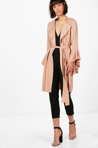 Boohoo Rhyla Flute Sleeve Belted Duster in stone - Wrap up in the latest coats and jackets and get...