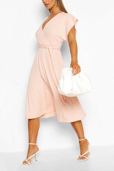 Boohoo Rib Belted Midi Skater Dress in blush