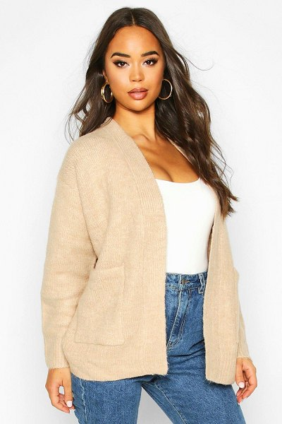 Boohoo Rib Edge To Edge Pocket Cardi in biscuit