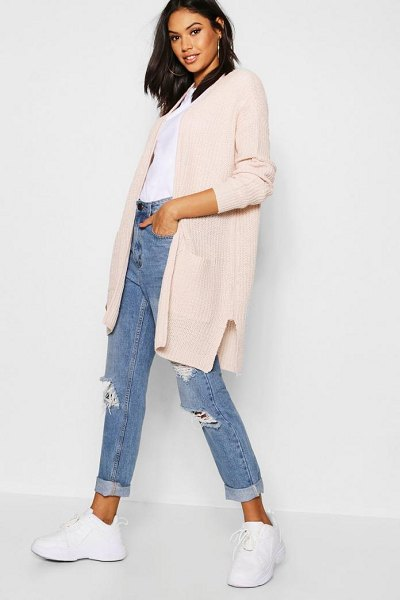 Boohoo Rib Knit Pocket Cardigan in soft pink - Nail new season knitwear in the jumpers and cardigans...