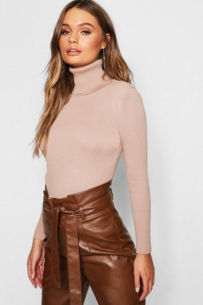 76021e91ce297 Boohoo Rib Knit Roll Neck Sweater | Nudevotion