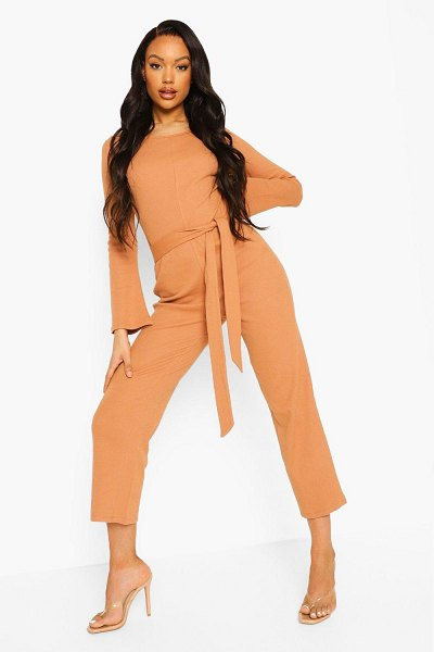 Boohoo Rib Long Sleeve Belted Culotte Jumpsuit in camel