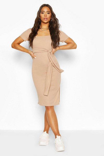 Boohoo Rib Square Neck Belted Midi Dress in stone