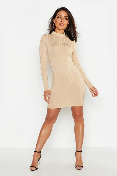 Boohoo Ribbed High Neck Bodycon Dress in taupe