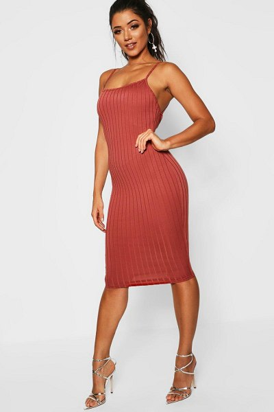 Boohoo Ribbed Low Back Midi Dress in terracotta