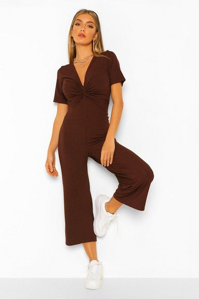 Boohoo Ribbed Twist Front Culotte Jumpsuit in chocolate