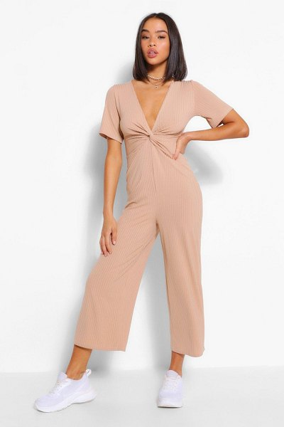 Boohoo Ribbed Twist Front Culotte Jumpsuit in stone