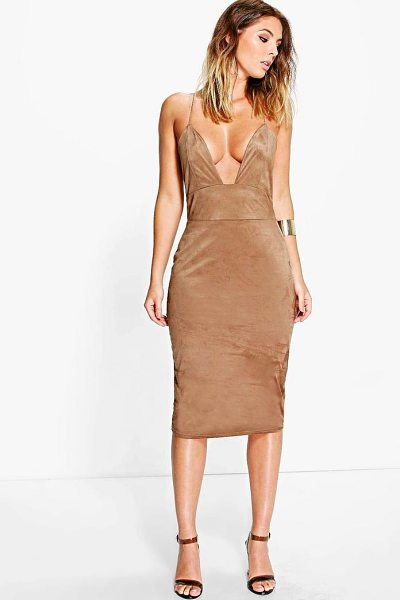Boohoo Rina Strappy Suedette Midi Bodycon Dress in camel - Get dance floor-ready in an entrance-making evening...