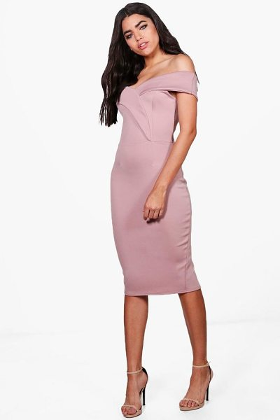 Boohoo Off Shoulder Detail Midi Dress in rose - Dresses are the most-wanted wardrobe item for...