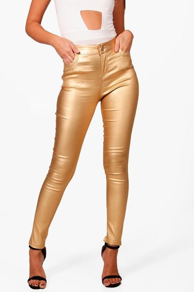 BOOHOO High Rise Metallic Coated Denim Skinny Jeans - Jeans are the genius wear-with-anything wardrobe...