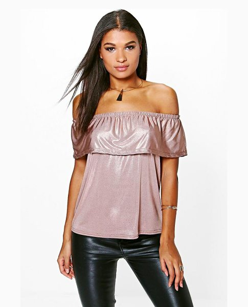 Boohoo Robyn Metallic Bardot Top in rose - Steal the style top spot in a statement separate from...