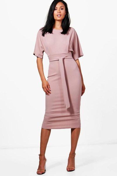 Boohoo Tie Waist Formal Wiggle Midi Dress in mink - Spin your way through cocktail hour in our selection of...
