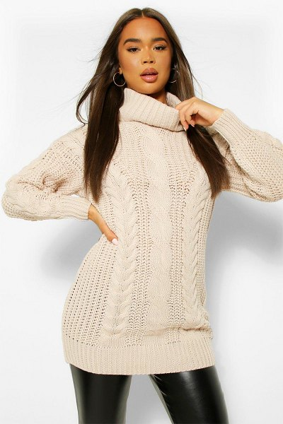 Boohoo Roll Neck Cable Knit Sweater Dress in beige