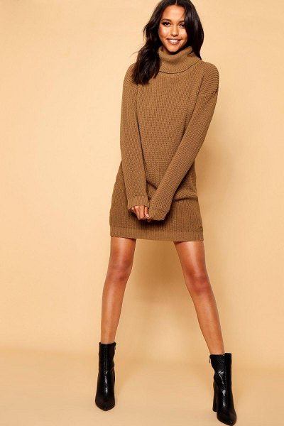 Boohoo Turtleneck Sweater Dress in camel
