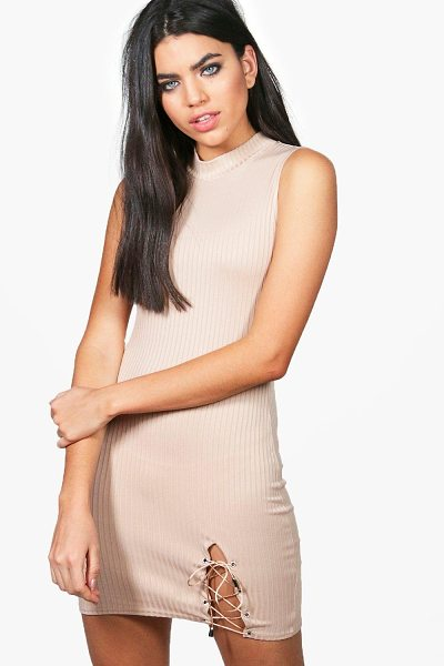 Boohoo Rose Lace Up Side Ribbed Bodycon Dress in khaki - Dresses are the most-wanted wardrobe item for...