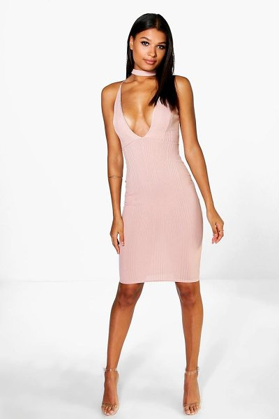 BOOHOO Rosie Ribbed Midi Bodycon Dress - Dresses are the most-wanted wardrobe item for...
