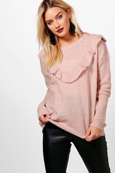 Boohoo Rosie Ruffle Yoke Jumper in rose - Nail new season knitwear in the jumpers and cardigans...