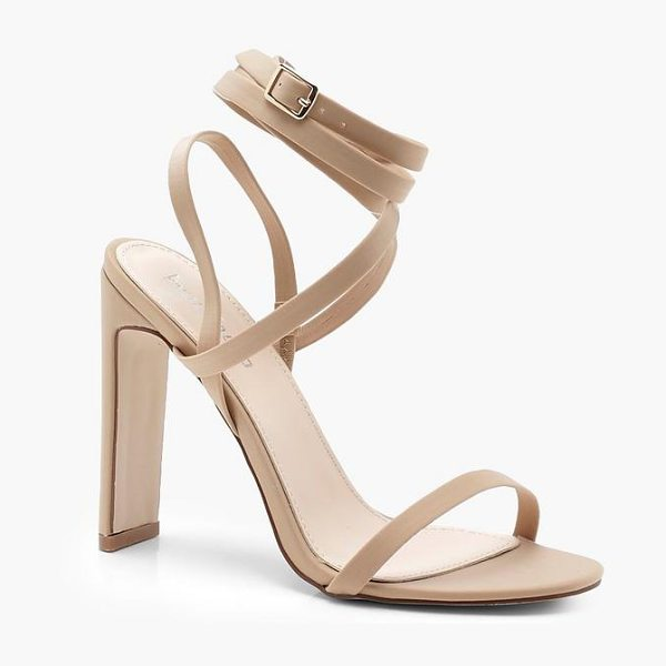 Boohoo Skinny Block Heel Wrap Strap Sandals in nude - We'll make sure your shoes keep you one stylish step...