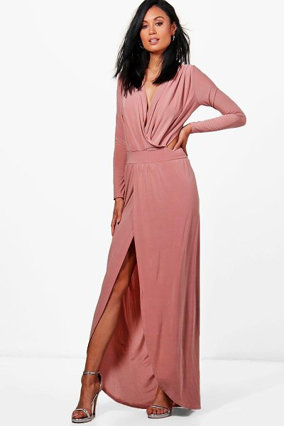 Boohoo Rosina Wrap Open Back Maxi Dress in rose - Dresses are the most-wanted wardrobe item for...