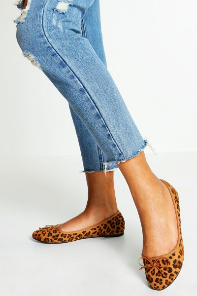 Boohoo Round Toe Ballet Flats in leopard