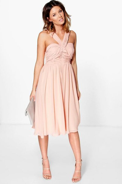 Boohoo Rowa Pleated Strappy Midi Skater Dress in blush - Dresses are the most-wanted wardrobe item for...