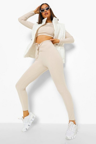Boohoo Ruche Front Zip Ankle Active Leggings in stone