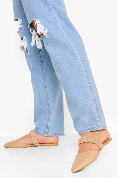 Boohoo Ruched Band Mules in nude