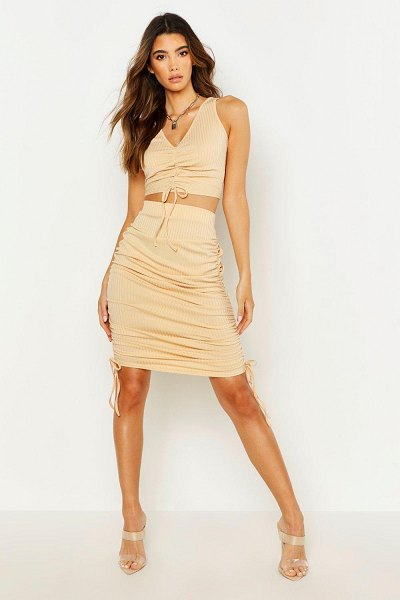 Boohoo Ruched Bodycon Skirt in camel