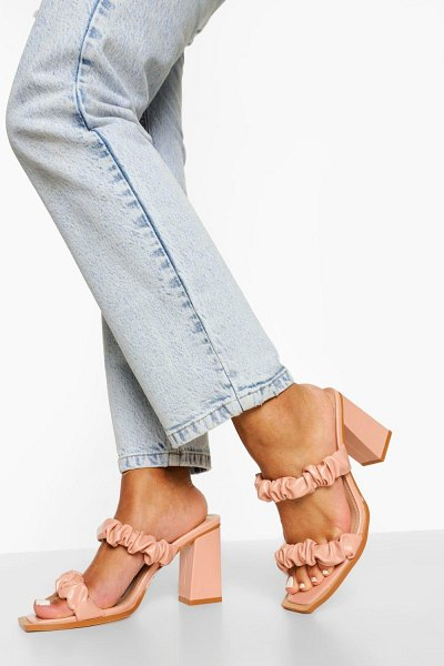 Boohoo Ruched Double Strap Mule in nude