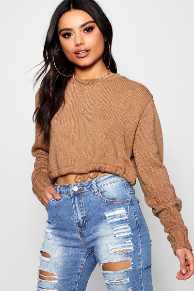 Boohoo Ruched Hem Soft Knit Sweater in camel