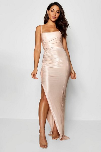 Boohoo Ruched Sqaure Neck Maxi Dress in stone