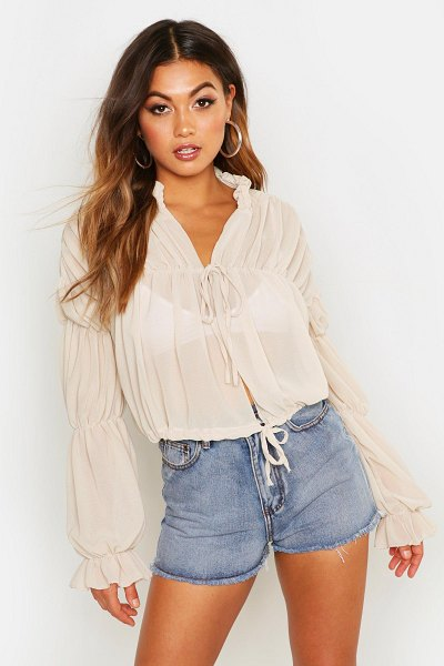 Boohoo Ruched Tie Front Sheer Top in stone