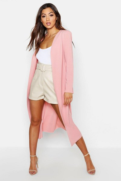 Boohoo Ruched Waist Maxi Duster Jacket in soft pink