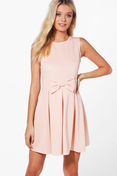 f0ff789012 Boohoo Ruth Bow Front Pleat Skirt Skater Dress in blush - Dresses are the  most-