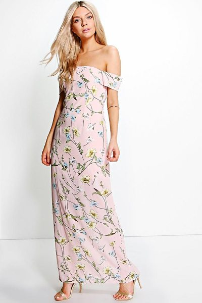 BOOHOO Chiffon Floral Off Shoulder Maxi Dress - Dresses are the most-wanted wardrobe item for...