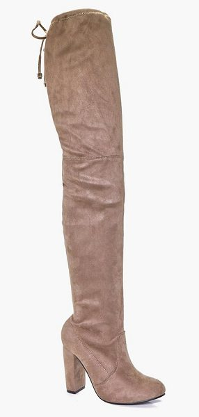 Boohoo Block Heel Tie Back Thigh High Boots in mocha - We'll make sure your shoes keep you one stylish step...