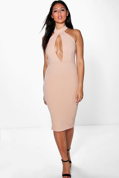 Boohoo Sadie Fold Over Keyhole Detail Bodycon Dress in blush - Get dance floor-ready in an entrance-making evening...