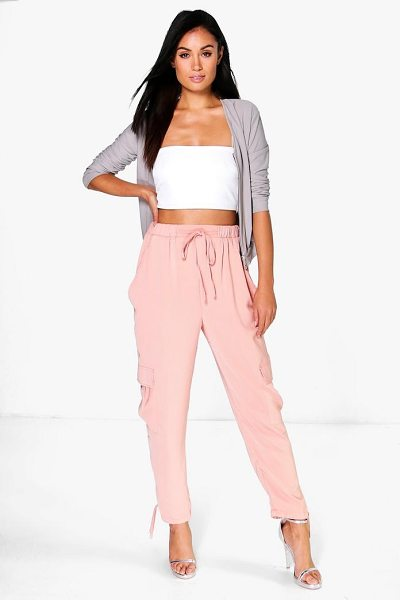Boohoo Saffi Pocket Side Woven Utility Trousers in blush - Trousers are a more sophisticated alternative to...