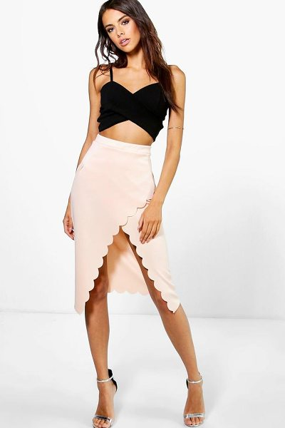Boohoo Saffron Scallop Wrap Midi Skirt in blush - Party with your pins out in a statement evening...