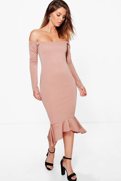BOOHOO Sakura Off Shoulder Peplum Hem Midi Dress - Dresses are the most-wanted wardrobe item for...