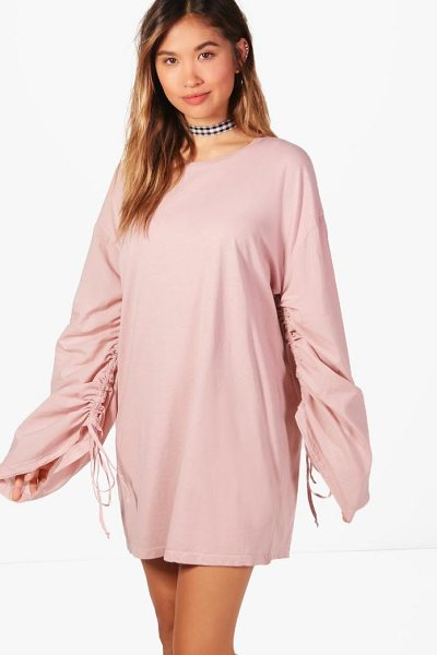 BOOHOO Sal Lace Up Ruched Sleeve Shift Dress - A failsafe favourite, shift dresses are effortlessly...