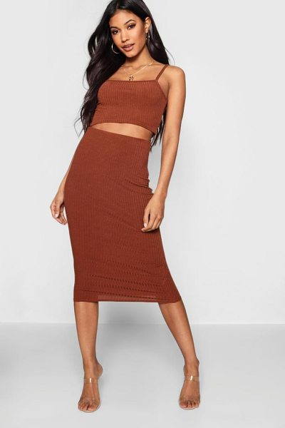 Boohoo Square Neck Strappy Midi Skirt Co-ord Set in caramel