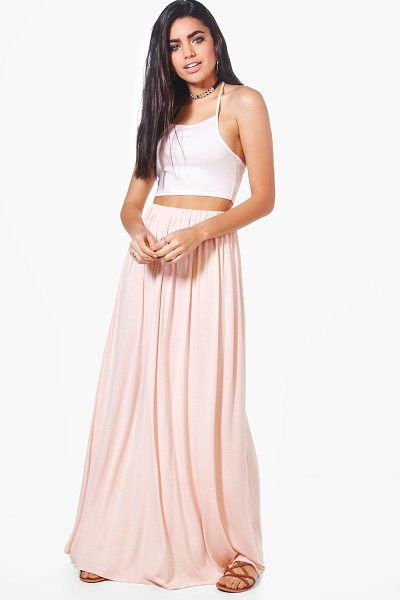 Boohoo Gathered Waist Floor Sweeping Maxi Skirt in blush - Skirts are the statement separate in every wardrobe This...